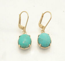 Technibond Cabochon Turquoise Gemstone Stud Earrings 14K Yellow Gold Clad Silver