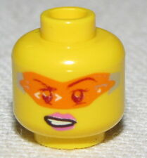 LEGO NEW MINIFIGURE FEMALE HEAD WITH ORANGE VISOR AND PINK LIPS GIRL