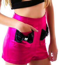 TOO FAST Kitty CAT BOW PocKET PinUp Shorts High Waisted PiNk Metallic HOT PANT 5