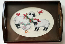 Vintage counted cross stitch FESTIVE FRIENDS CHRISTMAS tray insert completed