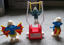 SMURF Trapeze & Wind-Up Action Figure Toy Lot - The Smurfs Vintage 80's Cartoon