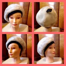 Vintage 50's 60's White Grey Faux Fur Black Trim Beret Hat S Mod Carnaby