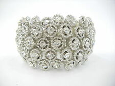 Bridal Prom Silver Plated Rhinestone Crystal Stretch Bracelet Bangle Cuff