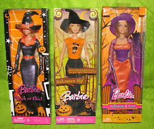3 Mattel Barbie Halloween Dolls Trick or Chic M3539 Hip J0586 Treat P8277 NIB