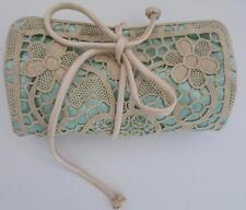 VINTAGE AQUA JEWELRY ROLL TRAVEL CASE WITH ECRU NEEDLE LACE OVERLAY