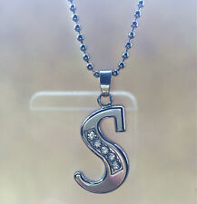 NEW Fashion letters S name silver  crystal pendant necklace chain JEWELRY @1