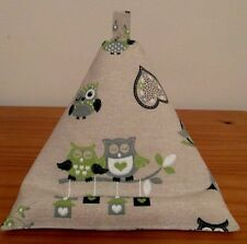 TABLET Cushion Bean Bag Mini iPad Kindle  'LIME OWLS' FABRIC Pillow Stand