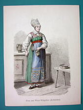 SWEDEN Costume Woman from West Vingaker - 1880s Color Antique Print