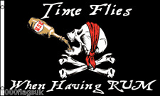 Pirate Time Flies When Rum Jolly Roger Skull and Crossbone 5'x3' Flag !