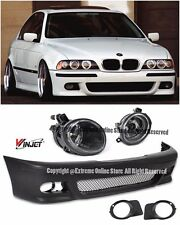 M5 Style Front Bumper Cover W/ Clear Fog Lights For 96-03 BMW E39 5-Series 4Dr