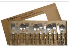 Wood Western Design Barb Wire 12 piece Set Flatware Silverware Wooden Rustic NEW