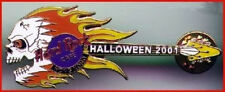 Hard Rock Cafe HONG KONG 2001 HALLOWEEN PIN Flaming Skull Guitar - HRC #3063