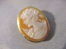 (C-1460) cheerful Woman Lady flower Orange CAMEO carved sea shell Pin Brooch