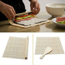 Utility Sushi Rolling Maker Bamboo Material Roller DIY Mat and A Rice Paddle Set