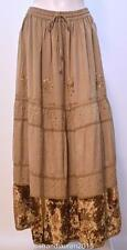 HIPPIE NOMAD GOTHIC TIERED EMBROIDERED SEQUIN GYPSY SKIRT BEIGE 10 12 14 16 18