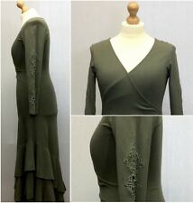 Together Ladies Green Stretch Fit Faux Wrap Frill Tiered Gypsy Dress Size 14/16