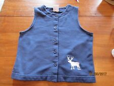 girl Kelly's Kellys Kids Navy Blue Vest with White Moose Cabin Lodge Style 6/7/8