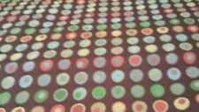 DOTS ON CHOCOLATE BROWN  RED YELLOW BLUE GREEN  CIRCLE WOVEN  UPHOLSTERY FABRIC