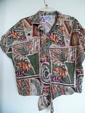 Women Size 1X  VTG BLOUSE SHIRT TOP CONNECTIONS short sleeves multi floral