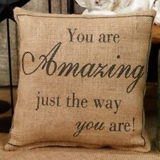 """You are Amazing just the way you are! Stenciled Burlap Pillow 8x8"""" with insert"""