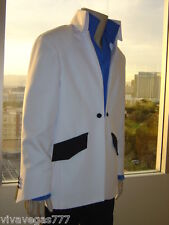 (NEW) Elvis WHITE High Collar 1972 JACKET (Tribute Artist Costume) Jumpsuit Era