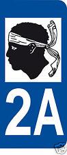 1 Sticker plaque immatriculation AUTO adhésif département 20 2A