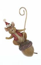 KURT S. ADLER MOUSE ON ACORN w/ RED GLITTER SANTA HAT & VEST CHRISTMAS ORNAMENT