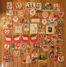 Vintage 1930's Amazing Collection Of 49 Valentine's Day Die Cut Greeting Cards