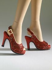 "Nu Mood High Heels Red Glitter sling Back Sandals #8 16"" Tonner Tyler No Box MOC"