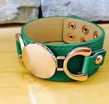 New Green Leather Gold Horse Bit Trim Stack Wrap Bracelet Bangle Cuff Monogram