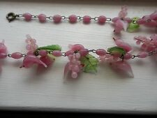 Vintage Italian Murano Glass Pink Bird Necklace 16""