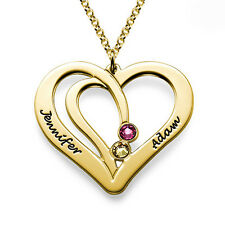 Engraved Couples Birthstone Necklace in Gold Plating - Personalized (USA Seller)