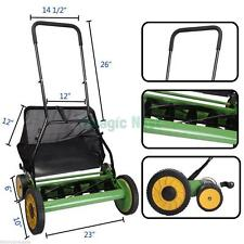 "High Quality Lawn Mower 20"" Classic Hand Push Reel W+Grass Catcher Green + Black"