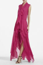 NWT BCBGMAXAZRIA SzXS BASHA ASYMETRICAL TIE NECK LONG BEGONIA DRESS $398
