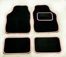 PEUGEOT 106 107 108 207 208 307 308 UNIVERSAL Car Floor Mats Black & PINK TRIM