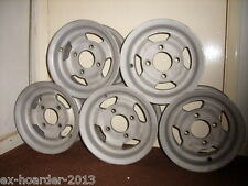 """Mini 10"""" Alloy wheels. Set of 5, vapour-blasted. MAG SL500. Wood and Picket."""