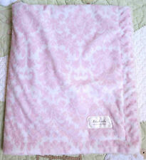 Baby Laundry Plush Pink & White Floral Design Pattern Baby Girl Blanket EUC