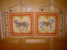 Fabric VIP CAROUSEL HORSES PANEL OUT OF PRINT AND RARE!