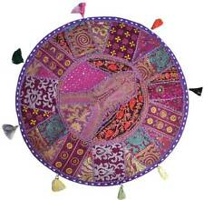 "Purple 17"" Round Floor Pillow Cushion round seating Bohemian Patchwork Pillow"