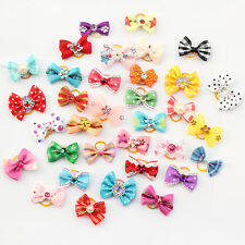 50PCS Assorted Flowers Pet Dog Hair Bows with Rubber bands Grooming Accessories