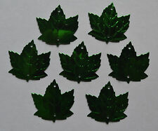 100 MAPLE LEAF METALLIC GREEN - Die-Cuts Embossed Sequin Leafs for crafts cards