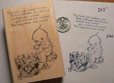 """P29  Kewpie sewing vintage postcard image rubber stamp WM 3x2"""""""
