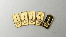 GOLD BULLION TIMES 5 PURE 24 CARAT GOLD BARS=1/3 gram total A3b