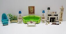 Vintage 1964 Ideal Petite Princess LIVINGROOM COUCH TABLES FIREPLACE CHAIR PLANT