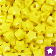 250 Yellow Opaque 13mm Star Pony Beads Plastic Made in the USA
