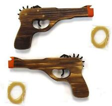 WOODEN ANTIQUE 45 MAG GUN ELASTIC RUBBER BAND SHOOTER boys toy army military
