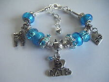 TURQUOISE 'Love My Cat' Hearts Charm Bracelet Cat/Cats Soft Kitty Crazy Cat Lady