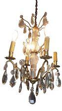 Lustre en bronze à pampille et fut de verre Electrifier
