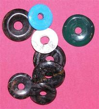 PENDANTS Stone Donuts LOT OF 8 25-30 MM CRAFTS/JEWELRY