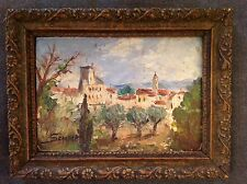 Tableau ancien Impressionniste Huile Paysage Provence Vue Chateauneuf du pape